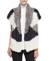 Nwt Vince Color Block Rabbit Fur Vest Women Coat Size M/L $995 - $306.24