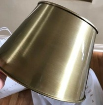 Pottery Barn Classic Tapered Hood Drum Lamp Shade Round Brass Metal Smal... - $25.78