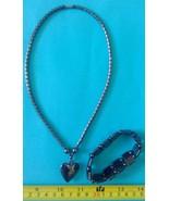 Hematite necklace heart shape pendant charm amu... - $23.27