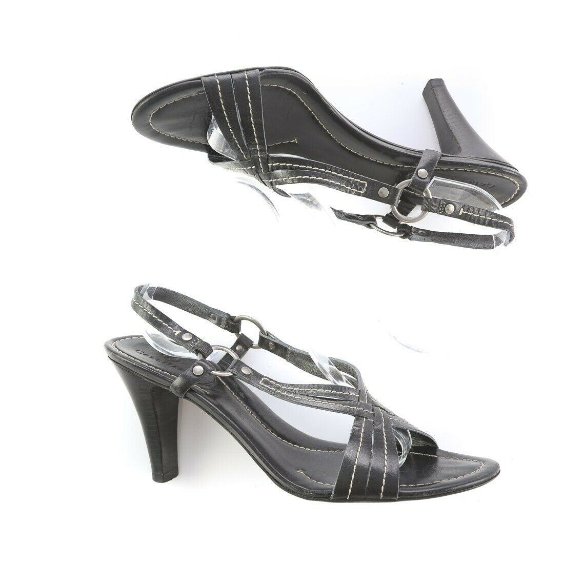 Cole Haan Black Stitched Leather Slingback Heeled Sandals Shoes Womens 9.5 B - $29.59