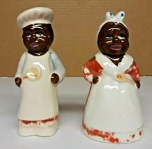Vintage Black Americana Chef Cook Salt Pepper Shakers Tough version - $5.94