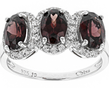 30ctw oval red zircon and . 40ctw round white zircon sterling silver 3 stone ring. thumb155 crop