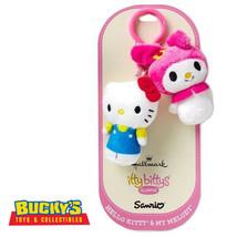 Hello Kitty & My Melody Hallmark itty bittys Clippys Christmas Bunny Cat... - $13.36