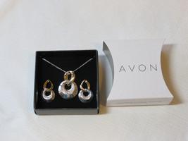 Ladies Womens Avon Two-Tone Circle Necklace & Earrings Gift Set F3433881 NIP;; - $29.69