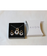 Ladies Womens Avon Two-Tone Circle Necklace & Earrings Gift Set F3433881... - $29.69