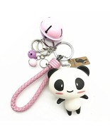 Panda Keychain Fashion Leather keychain Pink keychain Toy Doll - $9.99