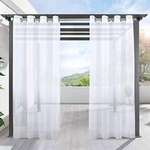 LIFONDER Patio Sheer Curtain Panels - Indoor Outdoor Grommet Waterproof ... - $10.16
