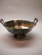 Vintage Epns Silver Plated Bowl With Handles Octagon With Handles - $33.65