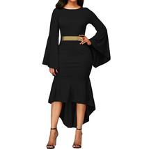 Elegant Sexy Oneck Flare Zipper Bell Long SleeveTrumpet Black Bodycon Dress - $58.72