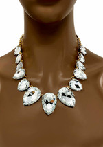 Statement Necklace Jewelry Set Clear Teardrop Crystal Drag Queen Casual ... - $33.25