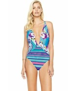 NWT GOTTEX swimsuit 8 one-piece plunging deep V front floral  $182 multi... - $81.47