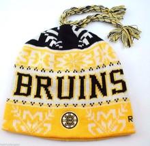 Boston Bruins Reebok NHL Tassel Winter Knit Hockey Hat/Beanie/Toque - $17.09