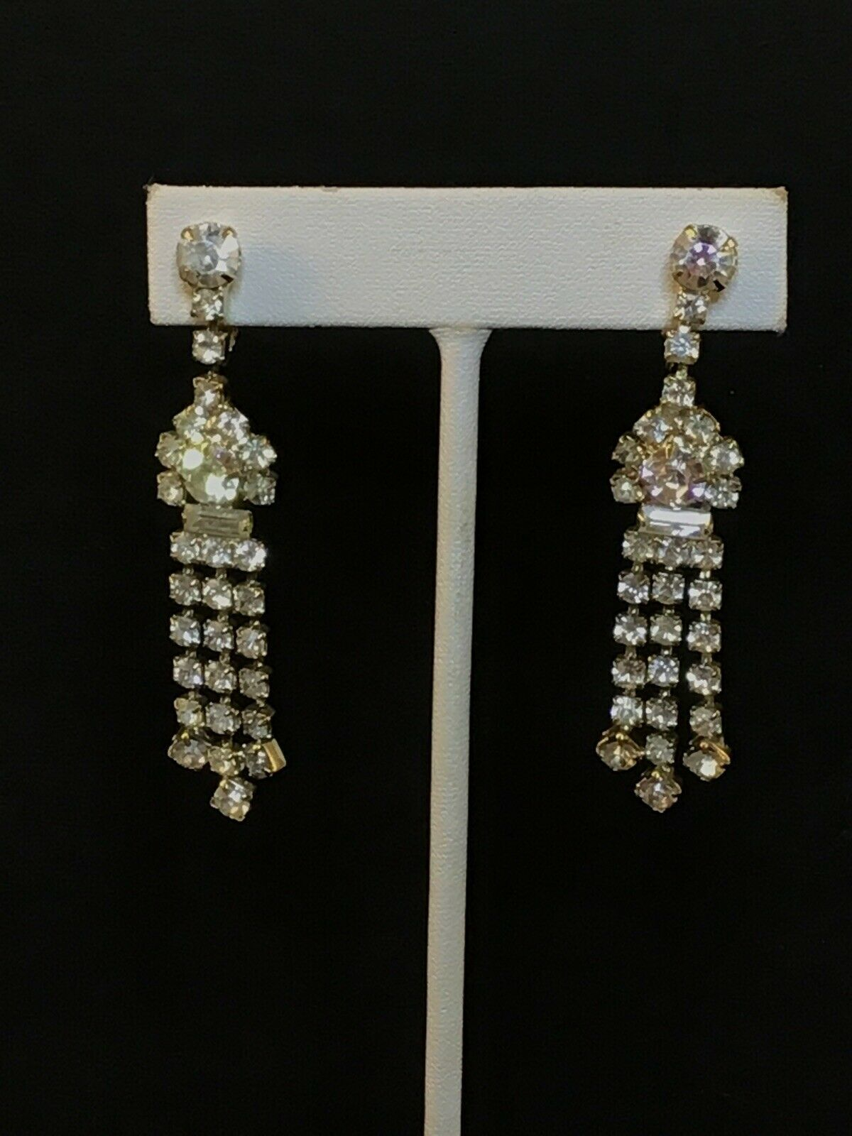 "Primary image for Vintage Clear Rhinestone Silver Tone Clip On Dangle Earrings 2 1/2"" (1527)"