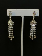 "Vintage Clear Rhinestone Silver Tone Clip On Dangle Earrings 2 1/2"" (1527) - $15.00"