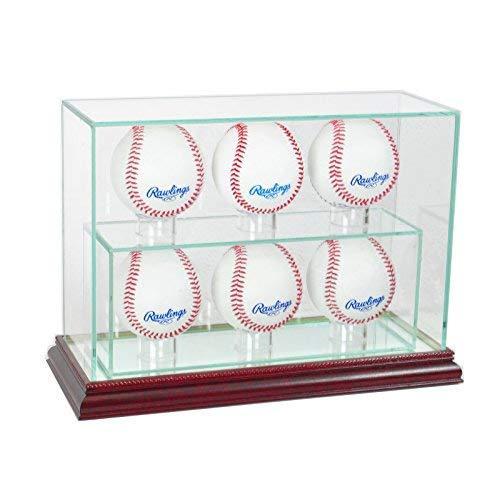 MLB 6 Upright Baseball Glass Display Case, Cherry
