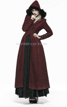 New PUNK RAVE Gothic Woolen Long Coat Wine Dark Red Y554 FAST POSTAGE - $157.80