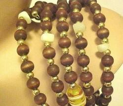 Beaded Wrap Bracelet Brown Amber White Beads - $9.85