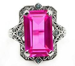 12CT Pink Sapphire & Aquamarine 925 Sterling Silver Filigree Ring Sz 6, ... - $29.69