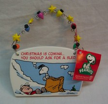 """Peanuts Holiday Plaque Charlie Brown & Snoopy 5"""" Christmas Decor Ornament New - $16.34"""