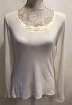 Tahari Women Ivory Long Sleeve Tunic Knit Size L Sweater Shirt Blouse Top - $23.99