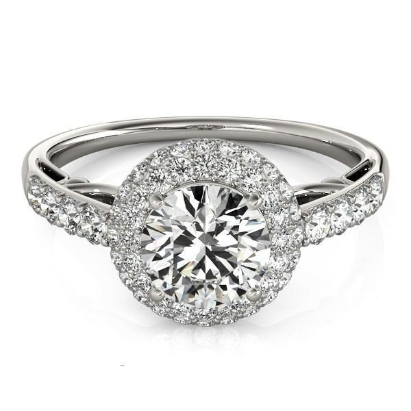14k White Gold Halo Style Diamond Engagement Pave Shank Ring (1 1/2 cttw)