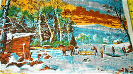 "Vintage~Winter in the Country~1979 Kitchen Linen approx:16""x 25""~ bx70 - $9.49"