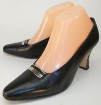 ETIENNE AIGNER PRETTY Wo's US 7.5 M Black Leather Slip-On Heels Work Sho... - $60.56