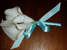 Real Touch Calla Lily Wedding Boutonniere or Corsage White and Turquoise... - $7.69
