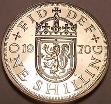 Proof Great Britain 1970 Shilling~Scottish Shield Variety~Last Year Mint... - $5.63