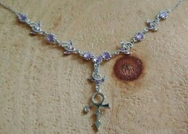 Prince Rogers Nelson Purple Crystal Love Symbol Necklace and Earring set - $19.99