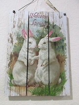 Primitive by Kathy Glittered Vintage Easter Bunny Rabbits Wall Sign Decor - $21.99