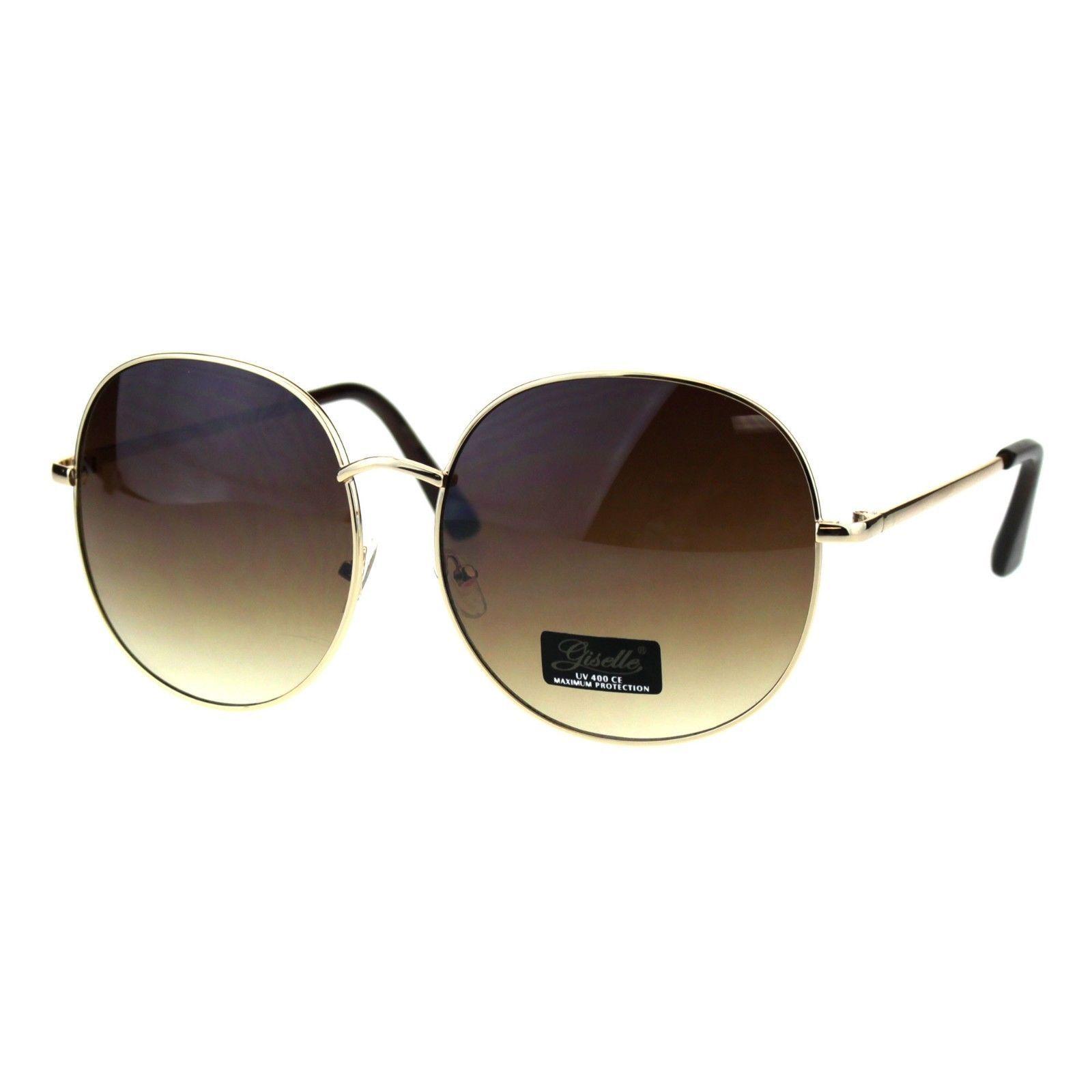 Womens Sunglasses Oversized Round Thin Metal Frame UV 400