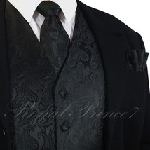 BLACK XS to 6XL 20-B Paisley Tuxedo Suit Dress Vest Waistcoat & Neck tie... - $22.75+
