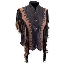 Diamond Plate Ladies Black and Brown Solid Leather Vest - Size 2X - $107.99