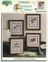Yvonne Ford's Christian Critters For Counted Cross Stitch 4 Designs Color Charts - $4.79