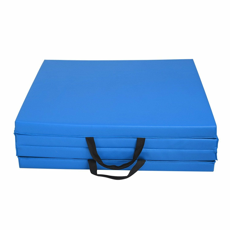 "2""x2'x8' Gymnastics Tumbling Exercise Gym Sport Fold Yoga Aerobic Mat Pad Blue"