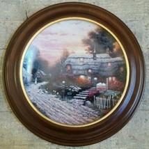 THOMAS KINKADE Collector Plate OLDE PORTERFIELD TEA ROOM WOODEN FRAME 1s... - $56.61