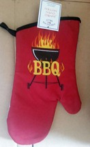 "Fabric Printed 12"" Oven Mitt, BBQ GRILL on RED, with gray back by AM - $8.90"