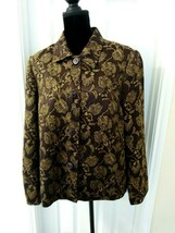 Sag Harbor Jacket Size 14 Brown Floral Paisley? Embroidered - $19.80