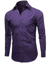 Omega Italy Men's Button Up Long Sleeve Solid Purple Dress Shirt w/ Defect - L image 2