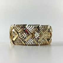 Vintage Coro Bracelet Art Deco Geometric Gold Toned Chunky Jewelry Woman... - $54.69
