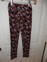 LuLaRoe White & Orange Skeletons Black Leggings Size L/XL Girl's EUC - $20.80