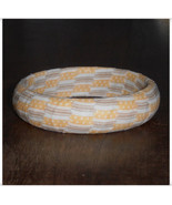 67mm Golden Yellow and Light Brown Stripe Ticking Girl Bangle Stripe Pri... - $10.00