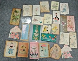 1940'SRARE OLD 26 USED MINI  GREETING CARDS  DESIGNERS HALLMARK, NORCROS... - $16.73