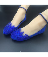 Girl Wedding Flats Shoes,Royal Blue Lace Bridal Shoes,Blue Girl Bridesma... - £30.95 GBP