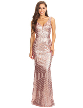 Women's 2018 Sequin Mermaid Long Prom Dress Empire Waist V Neck Evening ... - $108.79