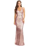 Women's 2018 Sequin Mermaid Long Prom Dress Empire Waist V Neck Evening ... - $108.79
