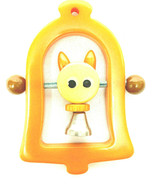 Vintage 1940's Bakelite Butterscotch Baby Rattle Kitty Head Bell Crib Toy - $193.05