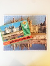 "Vintage 50s Warren Diamond Lock Picture Puzzle- #500 ""FRANCE: Chateau Chambord"""