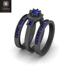 Engagement Ring Trio Set For Womens Three Stone Sapphire Blue Wedding Ring Set - $749.99